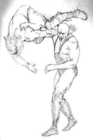 heres a drawing of one wrestler throwing another wrestler - Sports Drawing Pictures